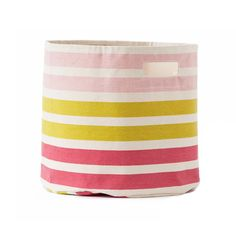 Stripes Pink and Citron Toy Storage Bin - Because you can never have enough storage in a child's room and it should look good, too! #PNshop