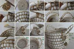 DIY Crochet Rope Basket - bjl                                                                                                                                                                                 Más