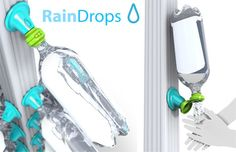 The RainDrops system simply allows people to adapt standard plastic bottles to an existing gutter system to collect rain water.