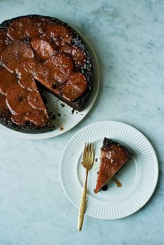 persimmon and ginger upside-down cake