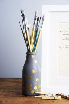pot à crayon #diy #dore #polkadots