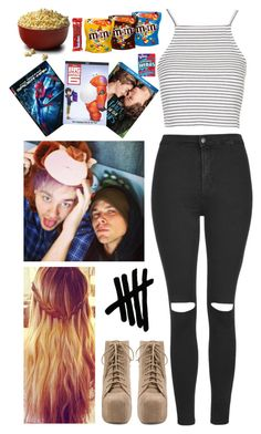 """""""Film night in with these 2 <3"""" by tori-lei5sos ❤ liked on Polyvore featuring Topshop, Jeffrey Campbell and River Island"""