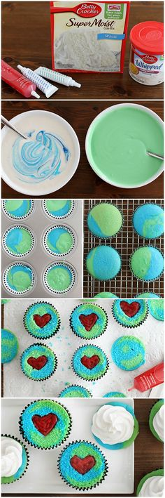 Earth Day Reveal Cupcakes: I would do it without the heart. Just because I like the Earth look. Cute Cupcakes, Cupcake Cookies, Holiday Treats, Holiday Fun, Earth Day Crafts, Earth Day Activities, Cake Toppings, Mini Cakes, Creative Food