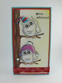 Birthday Whoot and Beanie Whoot (M4120 & M4122) card by Amy Hurley-Purdie for Art Impressions