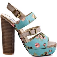 It will be difficult to have a bad day when you have this spring in your step style on.  Not Rated's Lovely Day features a turquoise canvas floral upper with synthetic leather straps.  A retro 5 1/2 inch chunky heel and 1 inch platform completes this lovely sandal design.