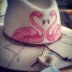 Handmade painting hat    'flamingos'