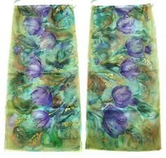 Tulips Scarf. Hand Painted Silk Shawl. Emerald Purple