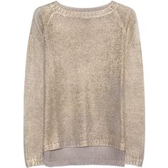 AVANT TOI BLACK LABEL Barchetta Gold // Linen pullover in metallic... ($465) ❤ liked on Polyvore featuring tops, sweaters, sweater pullover, loose pullover sweater, crew-neck sweaters, gold sweater and gold metallic top