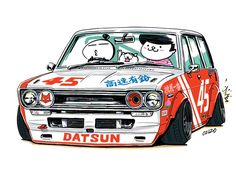 "car illustration original cartoon ""mame mame rock"" / © ozizo jdm japanese old school ""510"""