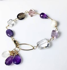 Amethyst Quartz Moonstone Mixed Gemstone Bracelet, Gold Wire Wrapped, Gifts for Her by MiShelli on Etsy