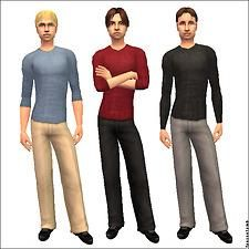 """Mod The Sims - """"Untucked"""" Dress Pants: 7 Colours, 2 Styles"""