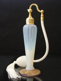 Antique Signed Pearl Opalescent DeVilbiss Atomizer Perfume Bottle