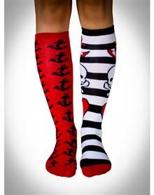 Mix And Match Skull And Anchor Knee High Socks 4 Pk