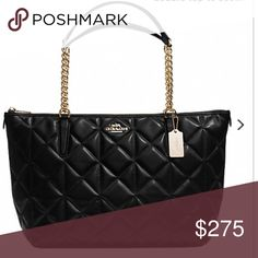 """Coach black Tote Handbag quilted leather Smooth calf leather Zip closure, fabric lining Inside zip, cell phone and multifunction pockets Handles with 9"""" drop 16 3/4"""" (L) x 9 3/4"""" (H) x 5"""" (W) Coach Bags Totes"""