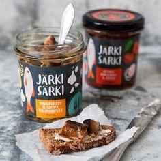 Järki Särki Visual Identity & Packaging Design on Behance Jam Packaging, Spices Packaging, Bottle Packaging, Food Branding, Food Packaging Design, Identity Branding, Food Graphic Design, Food Design, Jar Design