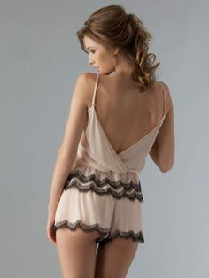 Lingerie. Silk and lace. Flirty back. Short shorty!