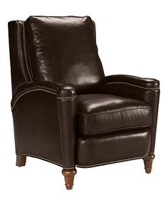 Black Leather Chair Recliner Wing Office Tufted Nailed Arm