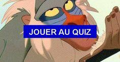 Petit quiz sur les races des animaux dans les films Disney. - Q1: Quelle est la race de Rafiki dans 'Le roi lion' ? Un capucin, Un mandrill, Un macaque,...
