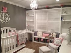 Nursery, girl, pink, grey, white, baby girl, nursery inspiration, home decor  Areal-lifestyle.blogspot.com  Here's a preview of our baby girl's nursery! We are almost finished and I love it-decorating it has been a passion for me!! Can you say grey, pink and white? More pics and all the details to follow on the blog.
