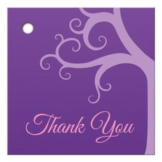 Purple tree of life Bat Mitzvah thank you tag / favor tag.