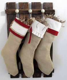 Rustic Barn Door Gate Coat Rack Christmas Stocking Holder Hanger Primitive Home Decor. $37.00, via Etsy. This would be easy to make!