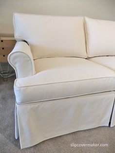 Custom slipcover with a tailored fit for 15 year old Ethan Allen sofa.
