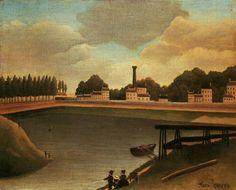 Tableaux sur toile, reproduction de Douanier Rousseau, Famille à la pêche