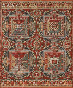 """A traditional Hindu mandala, like the """"Four Mandalas of the Vajravali Cycle"""" (circa Tibet) features a square with 4 T-shaped gates, which surrounds a circle with a point or object at the center. Modern usage of """"mandala"""" is much looser. Tibetan Mandala, Tibetan Art, Tibetan Buddhism, Buddhist Art, Mandala Painting, Mandala Art, Feng Shui, Mantra, Google Art Project"""
