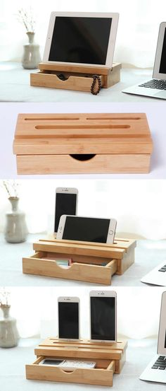 Desk Phone Holder - Wooden Bamboo Stationery Drawer Organizer iPad Phone Stand Holder Stand Pen Penc Wooden Bamboo Stationery Drawer Organizer iPad Phone Stand Holder Stand Pen Pencil Holder Stand to organizer your office supplies
