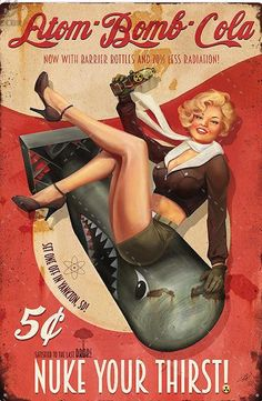 """Our vintage Cola tin signs add nostalgic character to your man cave, garage, game room, she shed, bar, bathroom, or business. Assorted varieties available 12"""" high x 8"""" wide Rounded edges 4 mounting holes Fast FREE Shipping from the U.S. Fallout Art, Fallout Posters, Pinup Art, Pin Up Girl Vintage, Vintage Pins, Vintage Art, Vintage Tin Signs, Retro Pin Up, Dibujos Pin Up"""