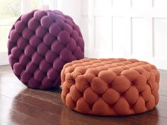 The circular Charlotte footstool is the perfect complement for any room, beautifully echoing an Art Deco influence. Each footstool is handmade and thoroughly padded to ensure comfort. Living Room Decor Colors, Accent Walls In Living Room, Living Room Sofa Design, Colourful Lounge, Colorful Decor, Upholstered Footstool, Upholstered Furniture, Living Furniture, Furniture Design