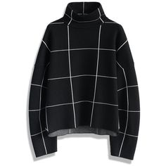 Chicwish Grid Turtleneck Sweater in Black (€53) ❤ liked on Polyvore featuring tops, sweaters, shirts, black, polyester shirt, turtle neck top, textured sweater, turtleneck sweater and shirt sweater