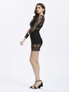 Women Black Catwalk Lace Dress Perspective Patchwork top Sheath at Banggood