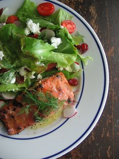 Rhubarb & Chipotle Grilled Salmon With Just Picked Greens by sweetsugarbean #Salmon #Rhubarb #Chipotle #sweetsugarbean