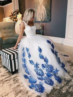 White Scoop Tulle Blue Lace Long Prom Dress Lace White Prom Dress, White Prom Dress, Lace Prom Dress, Prom Dresses, A-Line Prom Dress Prom Dresses Long Dresses Short, A Line Prom Dresses, Tulle Prom Dress, Cheap Prom Dresses, Cheap Wedding Dress, Ball Dresses, Bridal Dresses, Ball Gowns, Evening Dresses