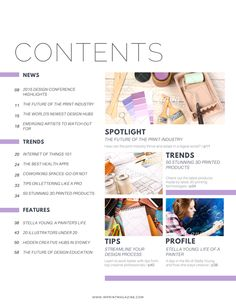 Graphic Design Contents Magazine Page. Your table of contents doesn't have to be boring or bland, or at least not if you use this layout. More