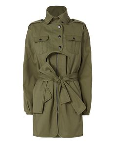 Marissa Webb Nicholas Army Coat: A great utility investment piece. Center zip closure. Long sleeves. Self tie belt. Four flap pockets. Lined. In army. Fabric: 68% cotton/29% viscose/3% elastane Lining: 100% bemberg Made in China.    Model Measurements: Height 5'8.5 ; Waist 24 ; Bust 33 ...
