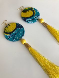 Turquoise bracelet-turquoise and Fine silver bracelet,Handmade ,turquoise, sterling silver toggle clasp-handcrafted jewelry - Custom Jewelry Ideas Diy African Jewelry, African Accessories, African Earrings, Yellow Tassel Earrings, Fabric Earrings, Diy Earrings, Textile Jewelry, Fabric Jewelry, Beaded Jewelry