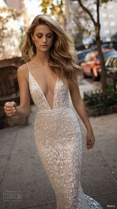 berta fall 2017 bridal sleeveless spagetti strap deep v neck full embellishment sexy glamorous fit and flare wedding dress low back sweep train (004) mv