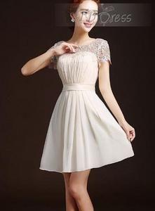 Temmelig A-linje Scoop korte ærmer læg Short brudepige kjole