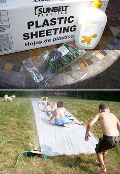 7. Behold: the world\s best and cheapest slip and slide is made from plastic sheeting and baby soap.