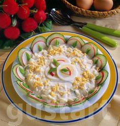 Lajos Mari konyhája - Mimóza tojássaláta, almával #AlmaSzerda Potato Salad, Food And Drink, Mint, Apple, Dishes, Cookies, Ethnic Recipes, Apple Fruit, Crack Crackers