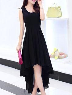 Designed Scoop Neck Chiffon Pure Maxi-dress | fashionmia.com