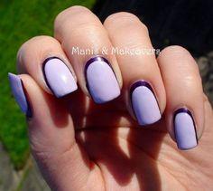 Lavender manicure. Interesting outline.