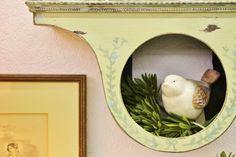 Repurposed mantle clock turned shelf- handpainted by Reblessed