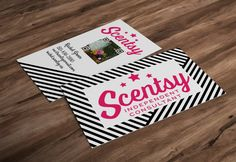 Black and white stripe scentsy business cards 35 x 2 diy vertical hot pink scentsy business card design w custom qr code x personalized consultant cards diy print new logo reheart Image collections