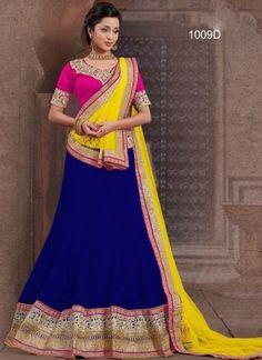 Royal Blue With Yellow Plan Net With Embroidery Patch Border Work Lehenga Cholii#lehengas  http://www.angelnx.com/Lehenga-Choli/Wedding-Lehenga-Choli