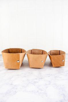 Leather Riveted Bin    http://diyinpdx.com/2016/07/26/diy-leather-storage-bowl/