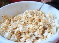 Saving 4 Six: Caramel Marshmallow Popcorn Football Draft Party, Marshmallow Popcorn, Banana Pancakes, Peanut Butter Banana, Caramel, Snack Recipes, Holidays, Food, Sticky Toffee