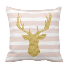 Chic Pink Watercolor Stripes Gold Deer Head Throw Pillow